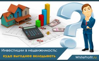 В какую недвижимость выгодно вкладывать деньги в ?